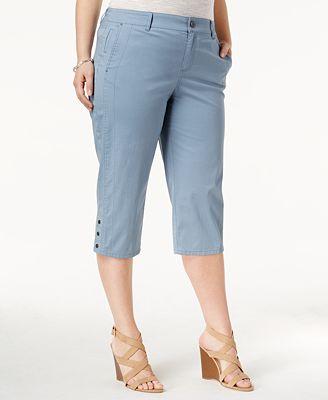 Style & Co Plus Size Snap-Hem Capri Pants, Created for Macy's ...