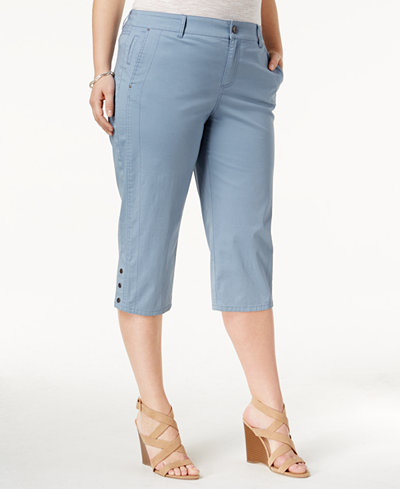 Style & Co Plus Size Snap-Hem Capri Pants, Created for Macy's ...