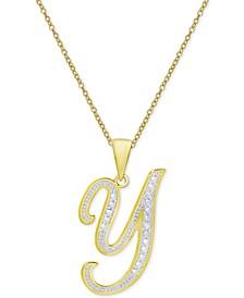 "Diamond Accent Script Initial 18"" Pendant Necklace in 18k Gold Plate"