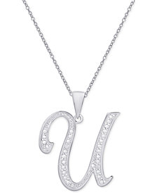 "Diamond Accent Script Initial 18"" Pendant Necklace in Silver Plate"