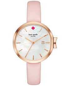 kate spade new york Women's Park Row Pink Leather Strap Watch 34mm KSW1325