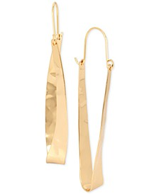 Extra Large Gold-Tone Hammered Oval Hoop Earrings