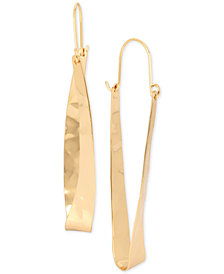 Robert Lee Morris Soho Extra Large Gold-Tone Hammered Oval Hoop Earrings
