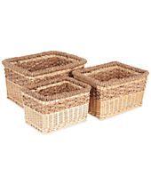 Household Essentials 3-Pc. Decorative Wicker Storage Basket Set