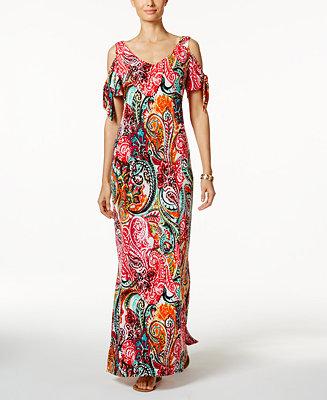 MSK Cold-Shoulder Paisley Print Maxi Dress - Dresses ...