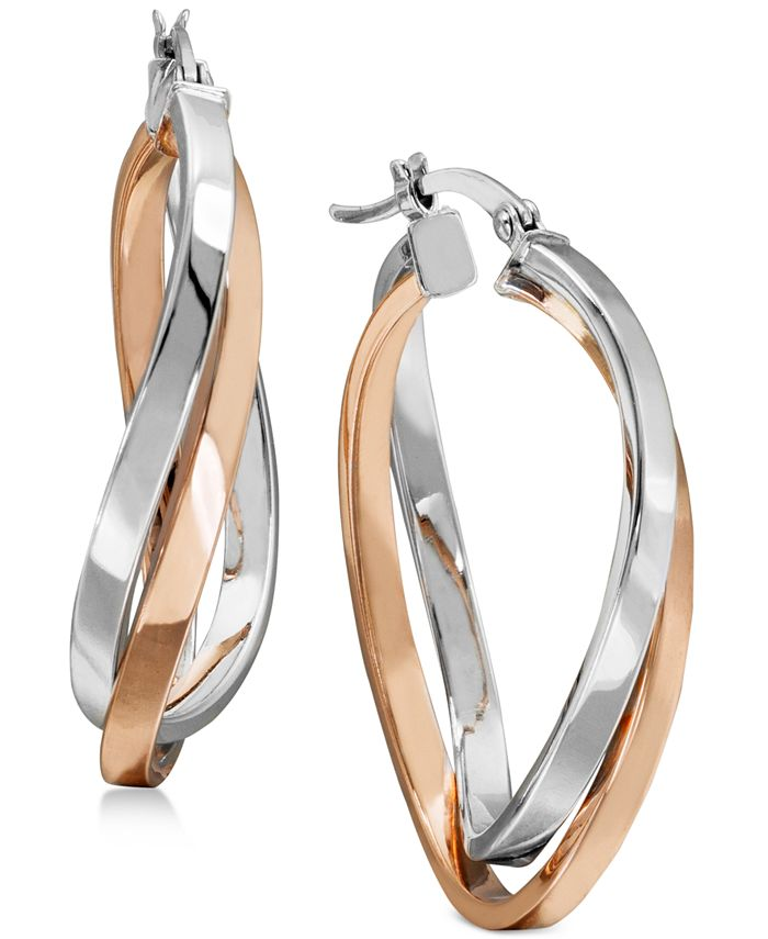 Macy's - Two-Tone Twisted Hoop Earrings in Sterling Silver and 18k Rose Gold Plating