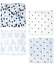 Baby Boys 4-Pk. Mickey Mouse Cotton Swaddle Blankets