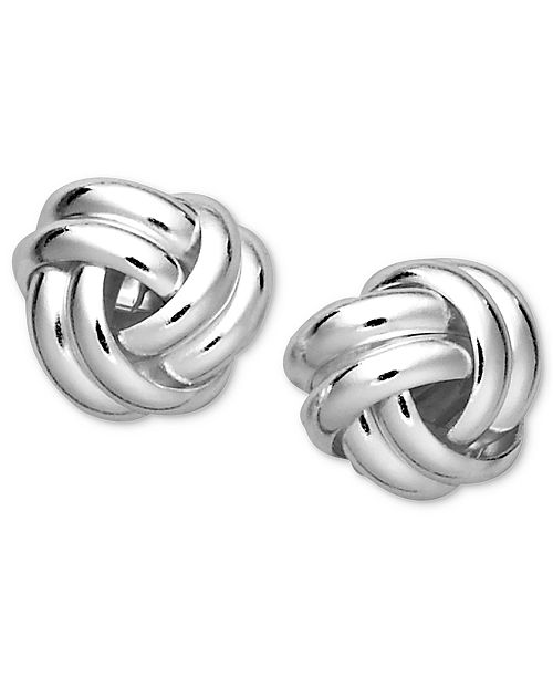Double Knot Stud Earrings In Sterling Silver Created For Macy S 63 Reviews Main Image