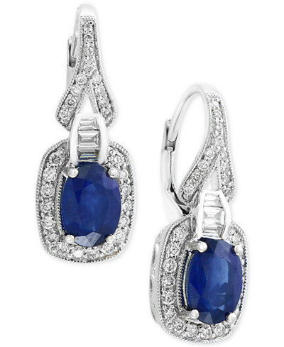 Royale Bleu by EFFY® Sapphire (1-9/10 ct. t.w.) and Diamond (3/8 ct. t.w.) Drop Earrings in 14k White Gold