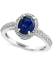 Royale Bleu by EFFY® Sapphire (1-3/8 ct. t.w.) and Diamond (1/3 ct. t.w.) Ring in 14k White Gold, Created for Macy's