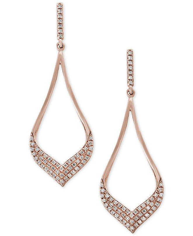 EFFY Collection Pavé Rose by EFFY® Diamond Drop Earrings (1/3 ct. t.w.) in 14k Rose Gold