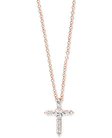 Pavé Rose by EFFY® Diamond Cross Pendant Necklace (1/5 ct. t.w.) in 14k Rose Gold