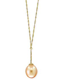 "Pearl Lace by EFFY® Cultured Golden South Sea Pearl (11mm) Pendant 18"" Necklace in 14k Gold"