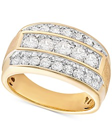 Men's Diamond Linear Cluster Ring (2 ct. t.w.) in 10k Gold