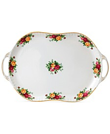 Old  Country  Roses  Handled Serving Platter