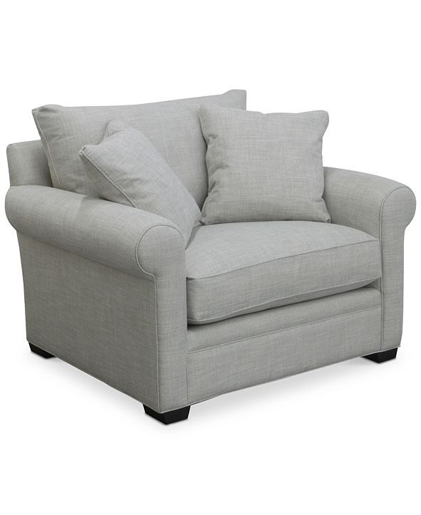 """Furniture Dial II 49"""" Fabric Armchair with 2 Toss Pillows"""