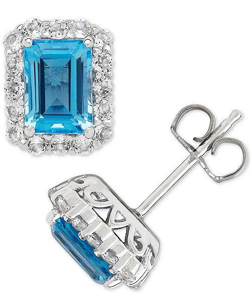 Blue Topaz 2 1 3 Ct T W White 4 Stud Earrings In Sterling Silver
