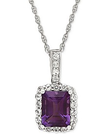 Blue Topaz (2-3/4 ct.t.w.) & White Topaz (5/8 ct. t.w.) Pendant Necklace in Sterling Silver (Also Available in Amethyst)