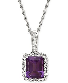 Amethyst (2-1/10 ct.t.w.) & White Topaz (5/8 ct. t.w.) Pendant Necklace in Sterling Silver(Also Available in Citrine, Garnet, and Blue Topaz)