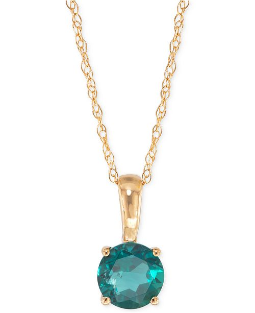 Macys lab created emerald pendant necklace 12 ct tw in 14k product details simple and sophisticated style emanates from this stunning lab created round shaped emerald pendant mozeypictures Image collections