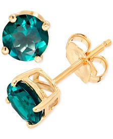 Lab-Created Emerald Stud Earrings (9/10 ct. t.w.) in 14k Gold