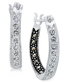 Marcasite & Crystal Inside Out Hoop Earrings in Silver-Plate
