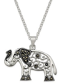 Marcasite Filigree Elephant Pendant Necklace in Silver-Plate