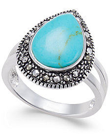 Manufactured Turquoise & Marcasite Teardrop Ring in Silver-Plate