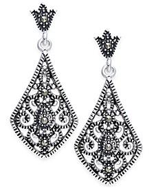 Marcasite Filigree Drop Earrings in Silver-Plate