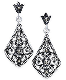 Marcasite Filigree Drop Earrings in Silver-Plate