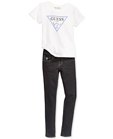 GUESS Big Girls Graphic-Print T-Shirt & Denim Jeans Separates
