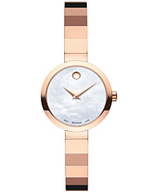 Movado Women's Swiss Novella Rose Gold-Tone PVD Stainless Steel Bracelet Watch 24mm 0607112