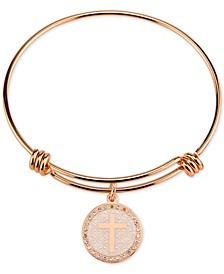 Cross Disc Charm Bangle Bracelet in Rose Gold-Tone Stainless Steel