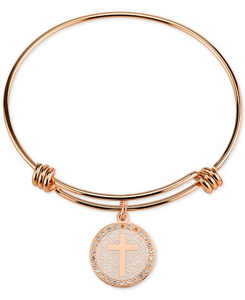 Unwritten Cross Disc Charm Bangle Bracelet in Rose Gold-Tone Stainless Steel