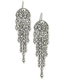 2028 Silver-Tone Multi-Chain & Crystal Drop Earrings