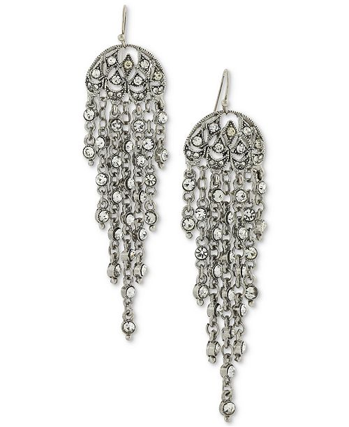 2028 Silver-Tone Multi-Chain & Crystal Drop Earrings
