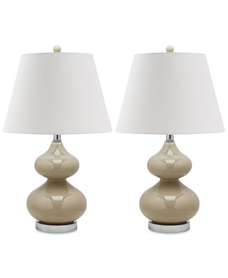 Safavieh Set Of 2 Eva Double Gourd Table Lamps Lighting Lamps