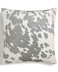 "Hallmart Collectibles Gray Spot-Print Velour 18"" Square Decorative Pillow"