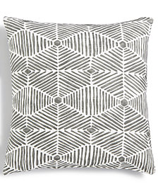 "LAST ACT! Hallmart Collectibles Gray Geo-Print Textured 18"" Square Decorative Pillow"