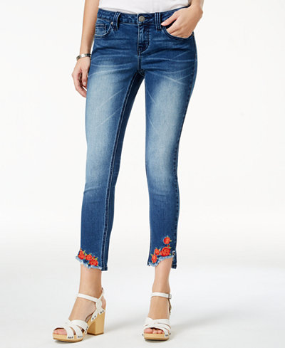 Rampage Juniors' Embroidered Skinny Jeans