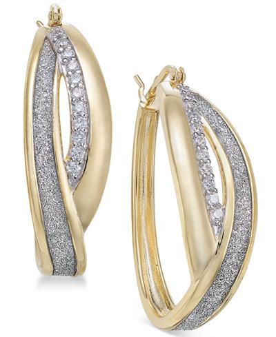 Diamond Glitter Overlap Hoop Earrings (1/4 ct. t.w.) in 18k Gold-Plated Sterling Silver