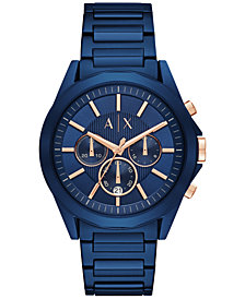 A|X Armani Exchange Men's Chronograph Blue Stainless Steel Bracelet Watch 44mm AX2607