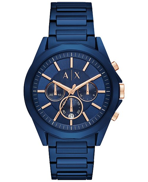 Armani Exchange A|X Men's Chronograph Blue Stainless Steel Bracelet Watch 44mm AX2607
