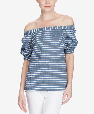 Lauren Ralph Lauren Petite Off-The-Shoulder Shirt