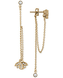RACHEL Rachel Roy Gold-Tone Crystal Lotus Flower Front-Back Earrings