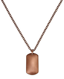 Sutton by Rhona Sutton Men's Copper-Tone Stainless Steel Dog Tag Pendant Necklace