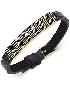 Sutton by Rhona Sutton Men's Gold-Tone and Leather Strap Bracelet