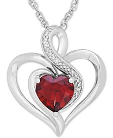 Rhodolite Garnet (1-3/8 ct. t.w.) & Diamond Accent Heart Pendant Necklace in Sterling Silver