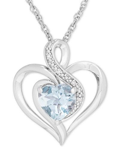 Aquamarine (1-1/10 ct. t.w.) & Diamond Accent Heart Pendant Necklace in Sterling Silver