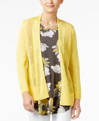 Image of Alfani Sheer Mixed-Knit Cardigan, Created for Macy's
